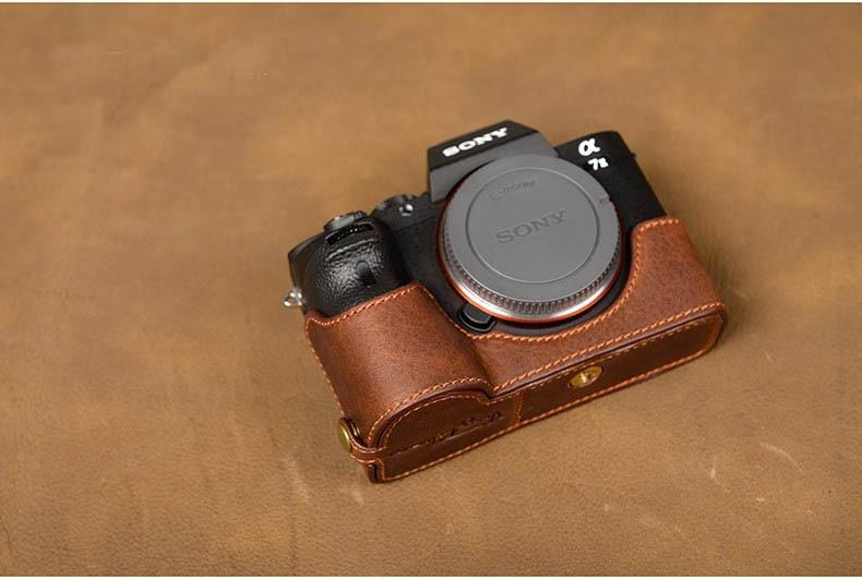 Genuine Leather Handmade Camera Case Half Body For Sony A7II A7R2 A7RII Open Battery Design