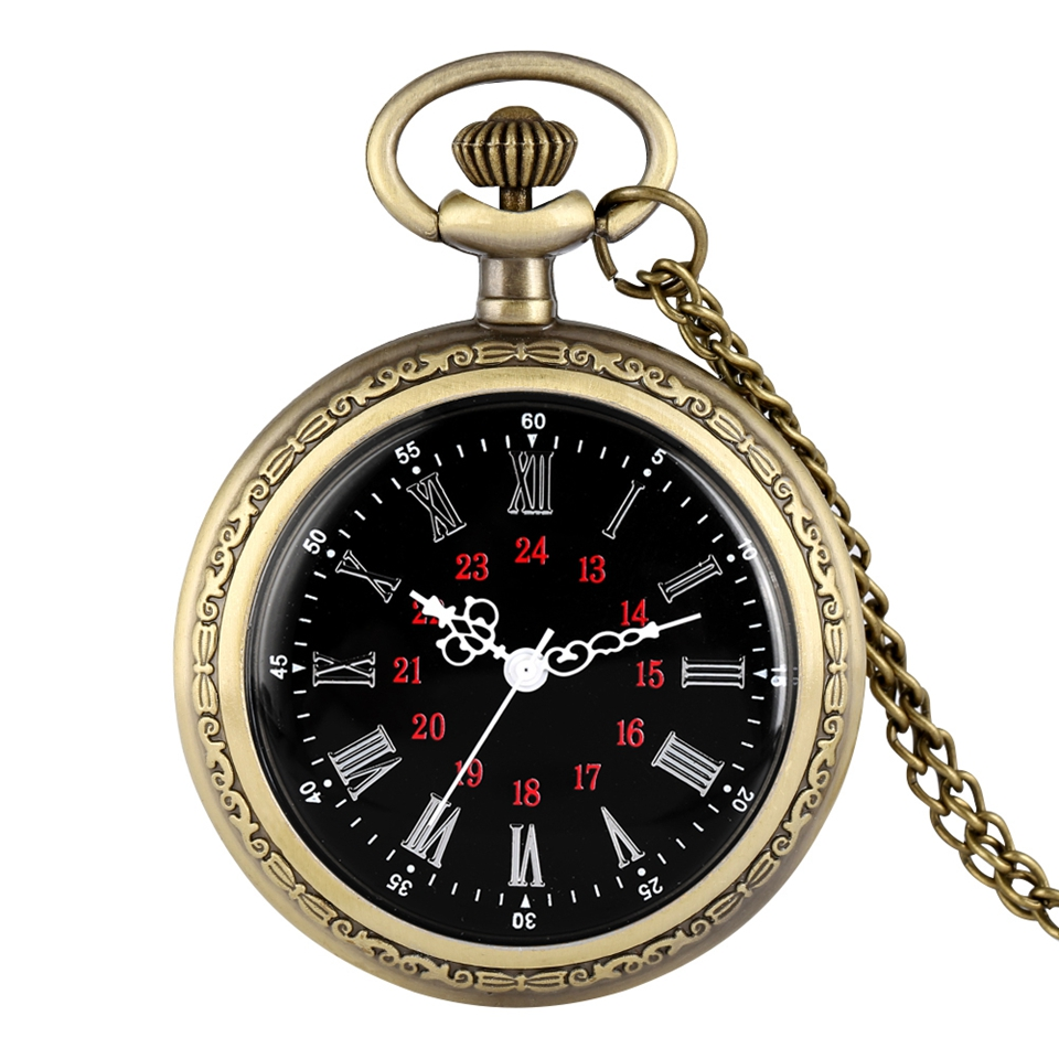 Unique Design No Cover Quartz Pocket Watches Roman Numerals Dial Steampunk Bronze Necklace Chain Watch Fashion Men Women Gifts