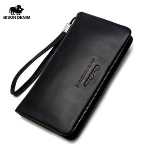 Image 1 - BISON DENIM Male Clutch Genuine Leather Mens Wallet Long Wallet Brand Cowskin Card Holder Coin Purse Men Business Wallet N8069
