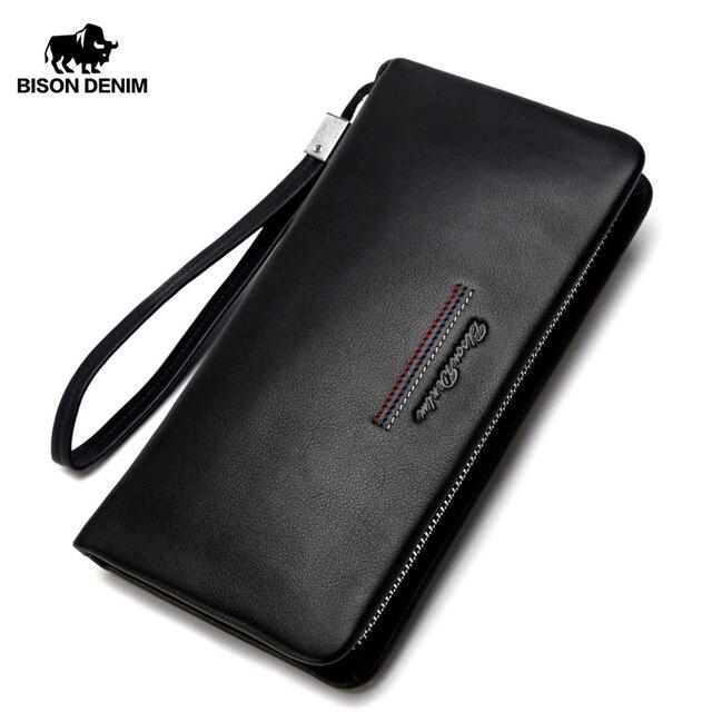 BISON DENIM męska kopertówka prawdziwy męski portfel ze skóry długi portfel marki Cowskin posiadacz karty monety kiesy mężczyzn portfel biznesowy N8069