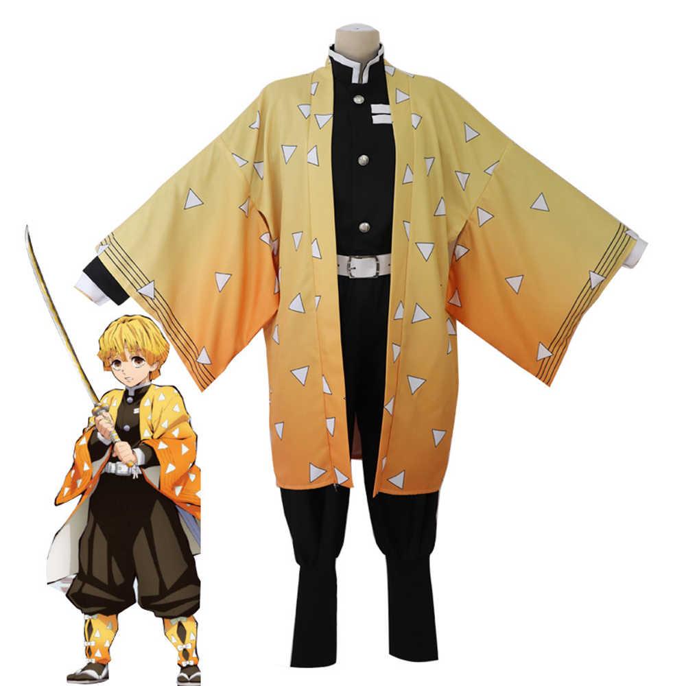 Kostium anime Demon Slayer Cosplay Tanjirou Kamado przebranie na karnawał Kimetsu nie Yaiba mężczyźni Kimono kostium Halloween