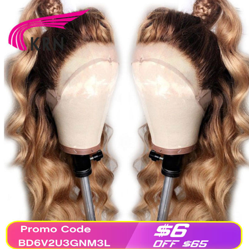 KRN #4/27 Ombre Brazilian 13x4 Lace Frontal Human Hair Wigs With Baby Hair Body Wave Remy Pre Plucked Lace Front Wig For Women