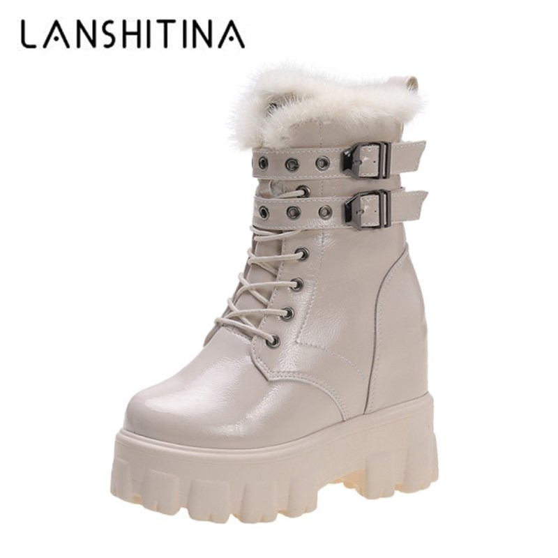 Shoes Women Winter Warm Motorcycle Boots 2019 British Style Platform Sneakers 10CM Heels Thick Bottom Plush Leather Boots Woman