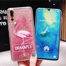 Liquid Quicksand Case For Huawei P30 Pro P20 Lite Mate 20 P Smart 2019 Honor 9 10 Play 8X Glitter Flamingo Phone Cover