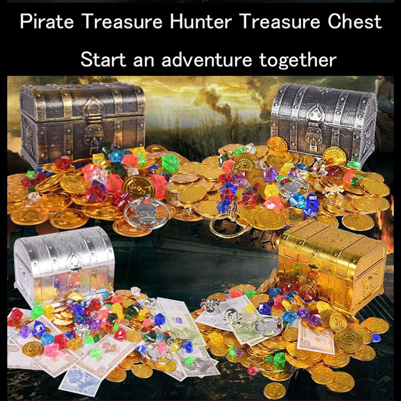 3 Species Plastic Gold Treasure Coins Captain Pirate Party Pirate Treasure Chest Child Treasure Chest Gold Coin Toy