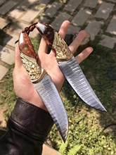 60HRC VG10 Damaskus Stahl Feste Klinge Messer Geprägte Griff-basketball-schuhe Handgemachte Jagd Messer Überleben Rettungs Werkzeuge Mit Kaminsims