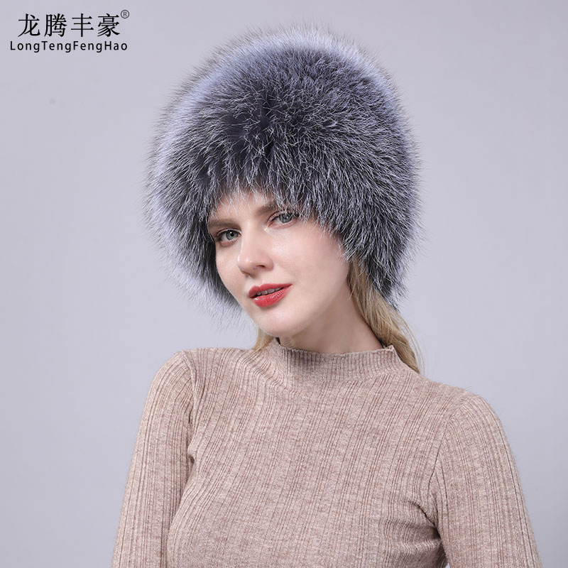 Natural Fox Fur Women's Fur Caps Beanies Knitted Hat Hats Russian Winter Thick Warm Fashion Caps Silver