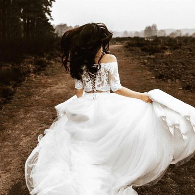 Elegant Lace Bohemian Wedding Dresses 2020 Custom Made White Two Piece Short Sleeves Beach Bridal Gown With Lace Crop
