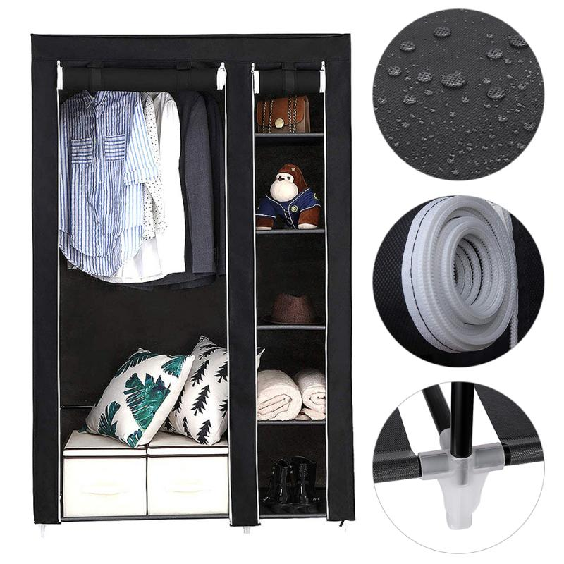 172cm Minimalist Modern Non-woven Cloth Wardrobe Black Storage Cabinet Folding Steel Individual Closet Bedroom Furniture HWC