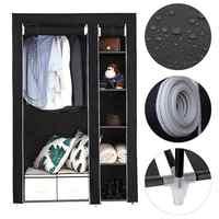 172cm Minimalist Modern Non-woven Cloth Wardrobe Black Storage Cabinet Folding Steel Individual Closet Bedroom Furniture HWC