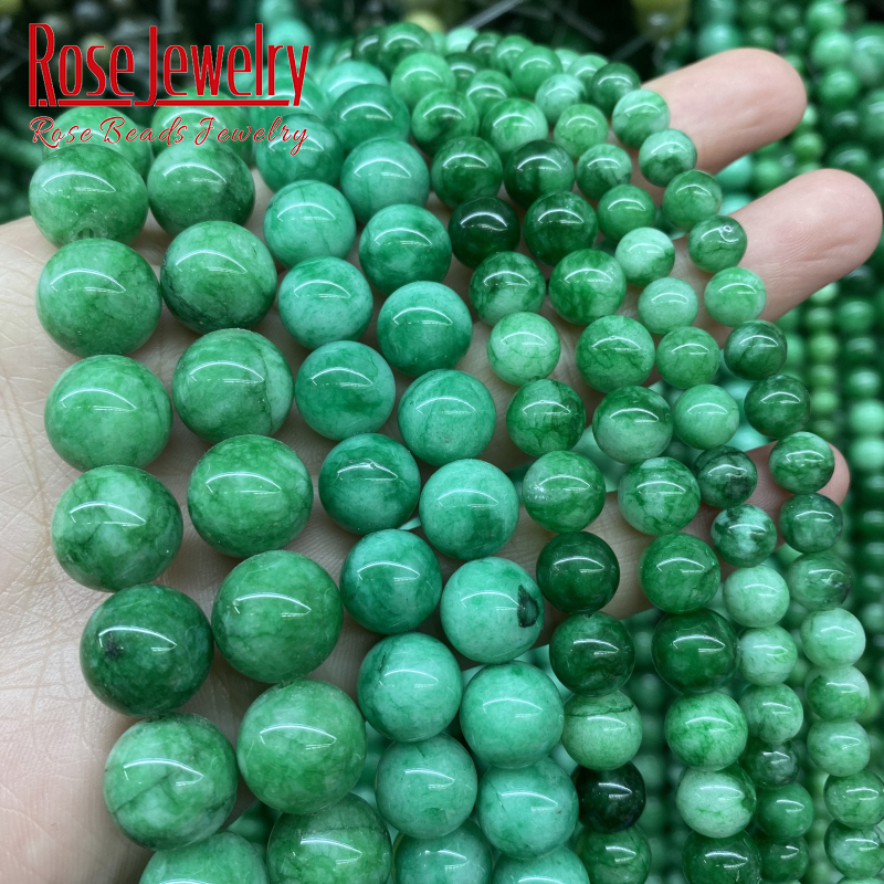 Natural Green Cloud Jades Chalcedony Gem Beads Round Loose Beads 15