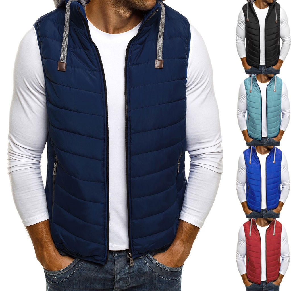 Mens Vest Hoodie Autumn Winter Zipper Fashion  Pure Color Waistcoat Vest  Top Coat   Chalecos Para Hombre Colete Masculino Gilet