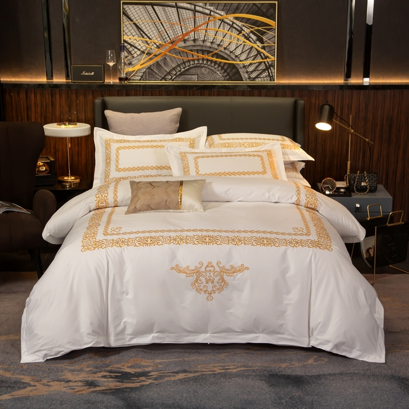 Luxury Chic Gold Embroidered Duvet Cover Set Premium Hotel White Egyptian Cotton Soft Bedding Bed Sheet Set Queen King Size 4Pcs