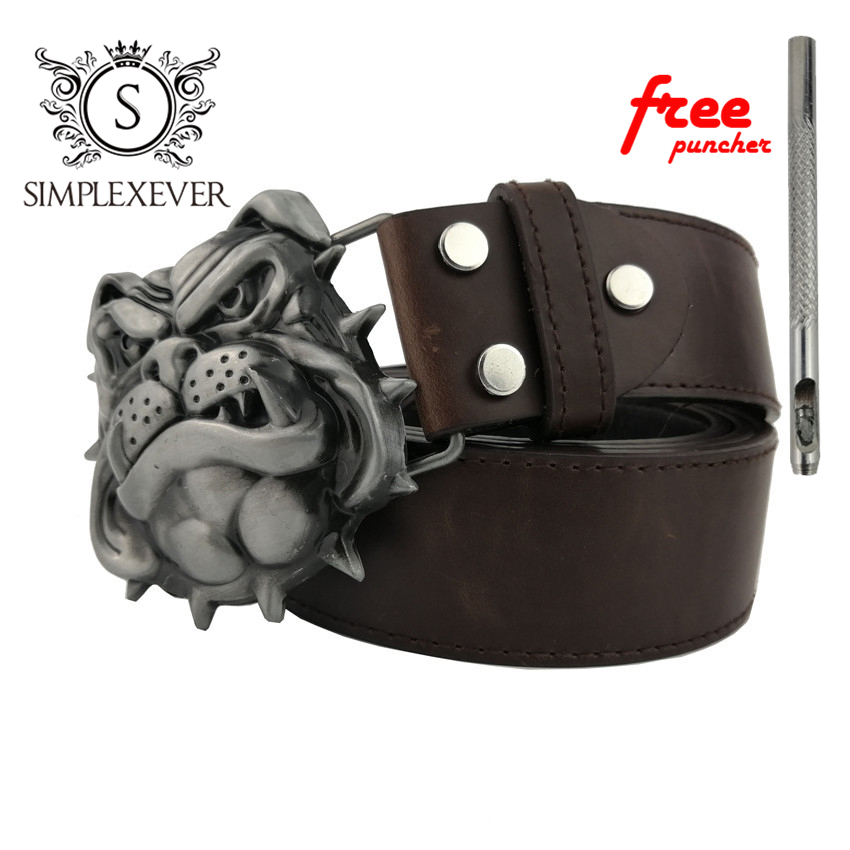 Silver Dog Metal Belt Buckles For Man Unisex Western Buckles Cowgirl Animal Belt Buckle With PU Belt Festival Gifts