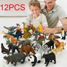 12 peças/set zoo modelo personagem ação brinquedo conjunto de simulação dos desenhos animados animal bonito plástico coleção brinquedo