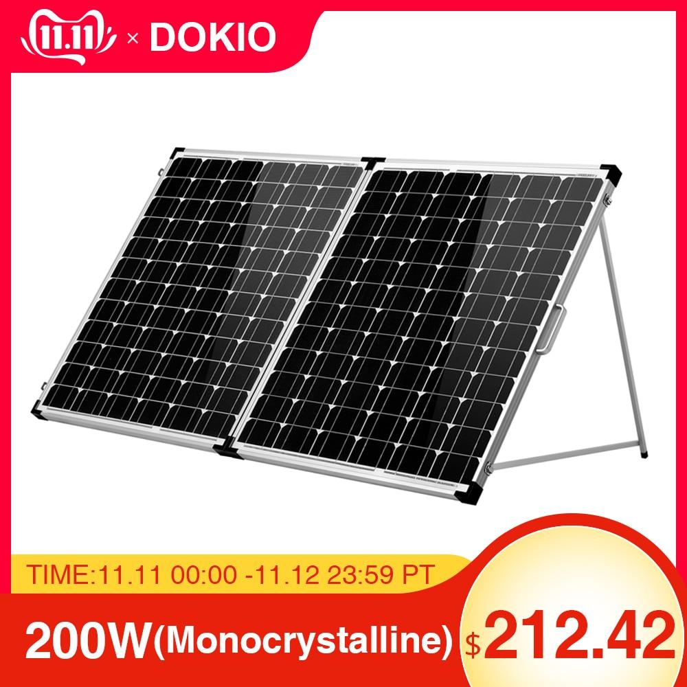 Dokio marque 200 W (2 pièces x 100 W) panneau solaire pliable chine + 10A 12 V/24 V contrôleur facile à transporter cellule/système chargeur panneau solaire