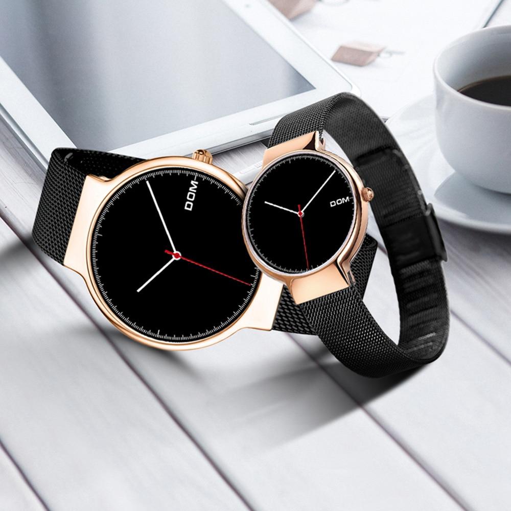 Presente para os Amantes Relógio de Quartzo Relógio de Pulso Teenram Casal Relógios Emparelhado Relógio Masculin Masculino Feminino Parejas Popular 2 Pçs