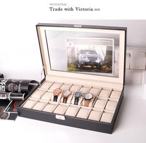 24 rejillas de cuero negro de alta calidad, caja de reloj para hombres, 24 ranuras, estuche protector para reloj para hombres, Relojes