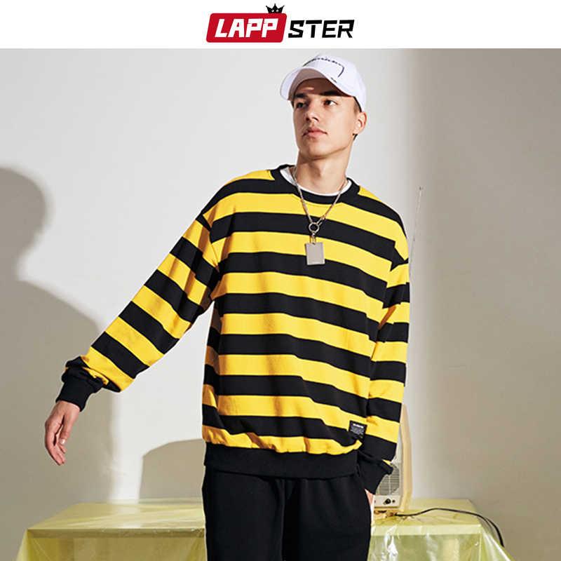 LAPPSTER Men 하라주쿠 스트라이프 스웨터 Streetwear Hoodies 2020 Mens 한국 스타일 빈티지 후드 남성 블랙 캐주얼 까마귀