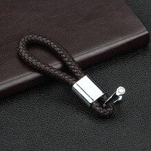 Leather Hand Woven Car Key Ring Keychain Zinc Alloy Car Keyring Holder цена 2017