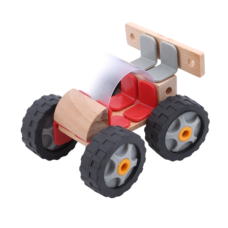 Learning Education Toy Wood Insert Blocks Assembled Racing Vehicle Car Automobile Race Motorcycle Toy Children Gift