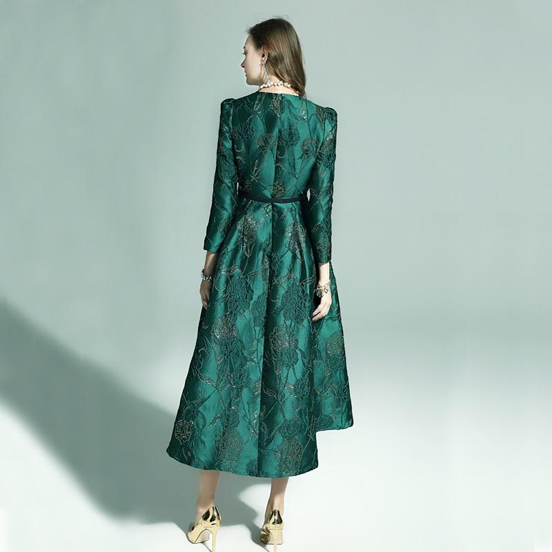 Vestidos Frauen Mode Langarm Herbst Winter Kleid Party Floral Elegante Jacquard Dame Promi inspiriert swallow tail Kleid-in Kleider aus Damenbekleidung bei  Gruppe 2
