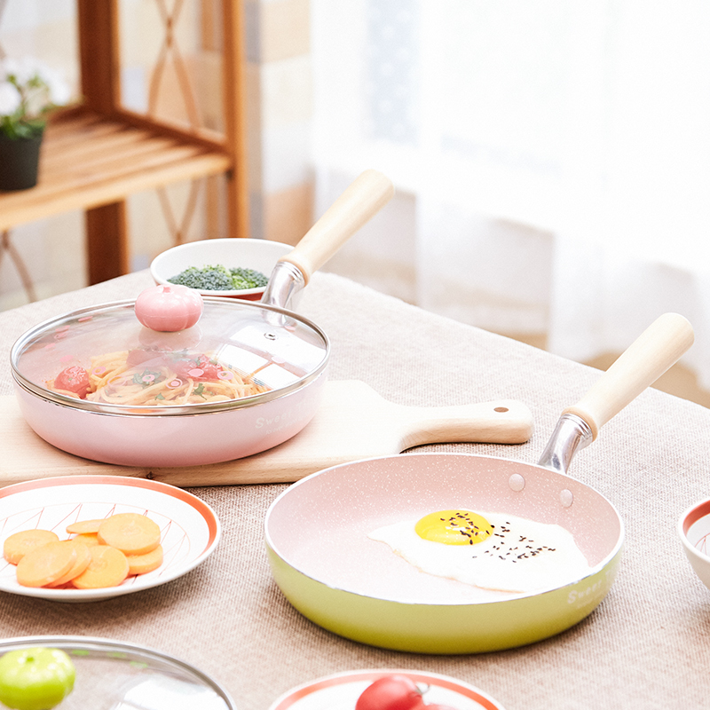 Frying Pan Non-stick Steak Pancake Egg Breakfast Pot Gas Stove Induction Cooker Paella Omelet Crepe Pan Glass Cover Lid