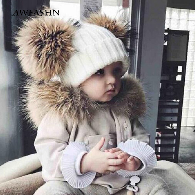 2019 New two raccoon fur pom-pom knitted   beanie   hats solid color high quality winter boy girl thickened headgear warm baby child