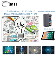 MTT For iPad Pro 12.9 inch Tablet Case 2015 2017 Release PU Leather Magnet Flip Fold Smart Cover Funda a1584 a1652 a1670 a1671 labato smart case for ipad 9 7 inch 2017 case pu leather luxury quality magnet smart cover for ipad 5 6 9 7 2017 fold flip cover