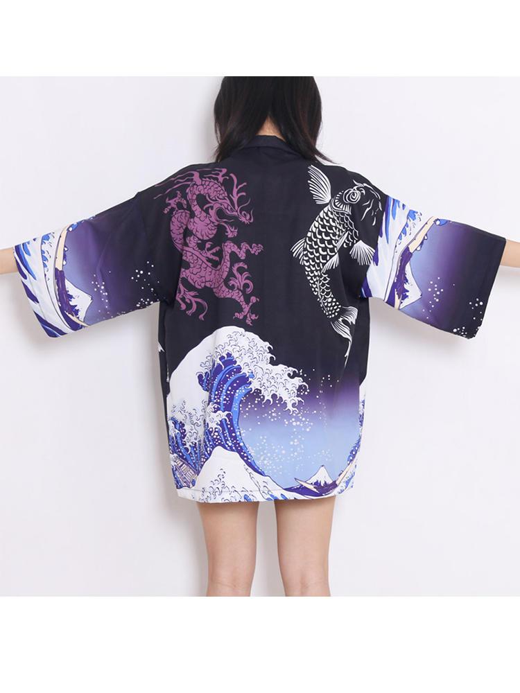 Cardigan Japan Robe Samurai Kimono Waves Streetwear Traditional Harajuku-Anime Women