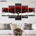 5 панелей, абстрактная красная картина маслом на холсте с изображением дерева, плакаты и принты, пейзаж, настенные картины, домашний декор на...