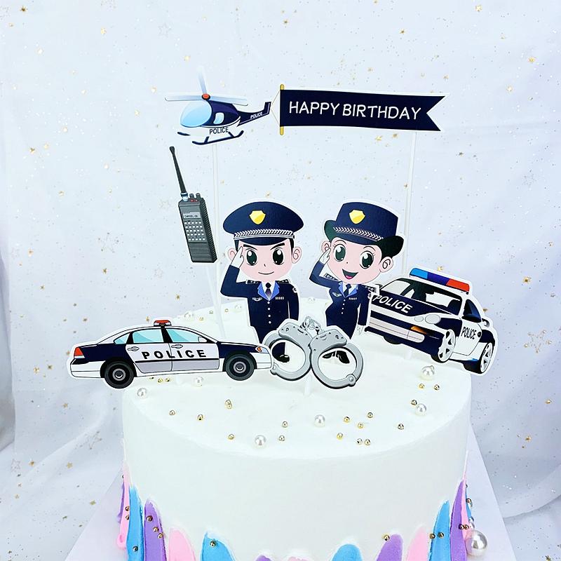 Strange 7Pcs Set Cake Topper Police Policewoman Policeman Male Police Funny Birthday Cards Online Hendilapandamsfinfo