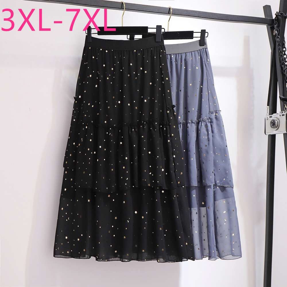 2020 spring summer plus size midi skirt for women large casual loose gauze ruffle black gray pleated skirts 3XL 4XL 5XL 6XL 7XL