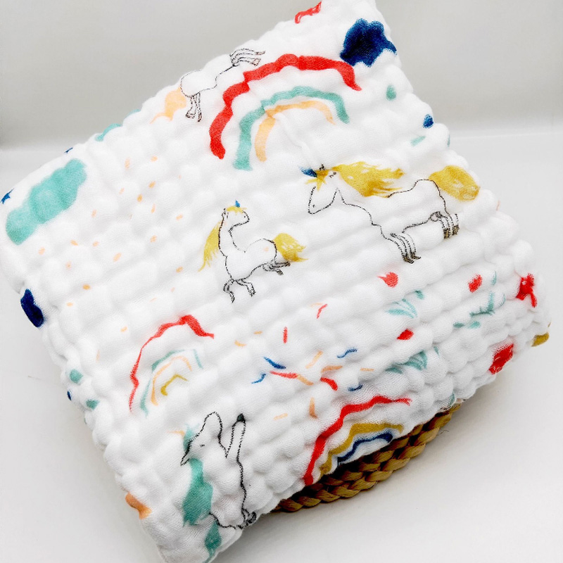 cotton baby bath towel unicorn