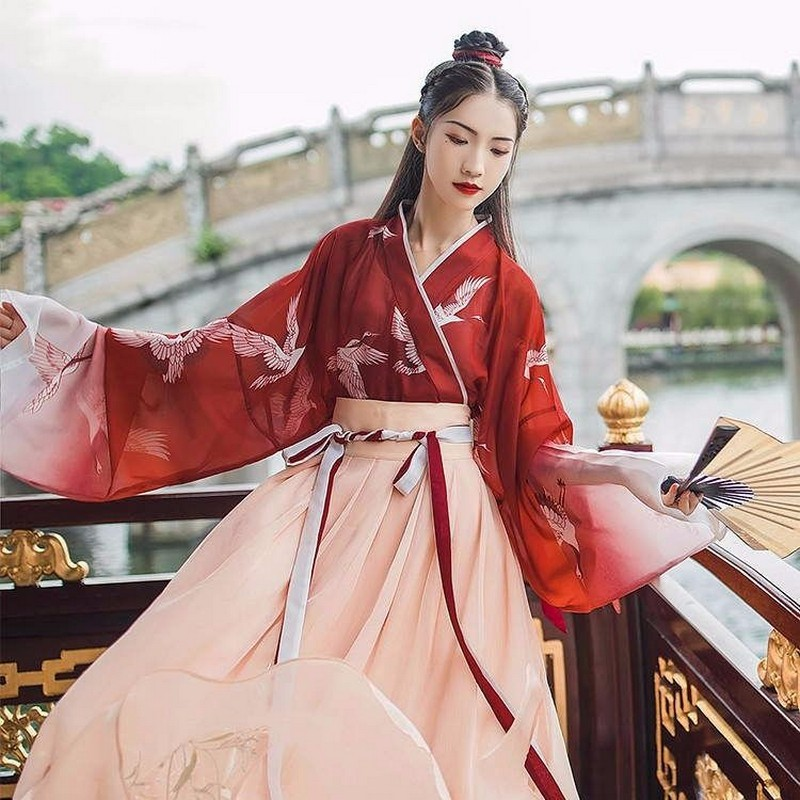 Vintage Hanfu Summer Clothes Sets Women Dress Gradient Maxi Dress Students Sweet Clothes Costume Chinese Style Loose Dress+skirt