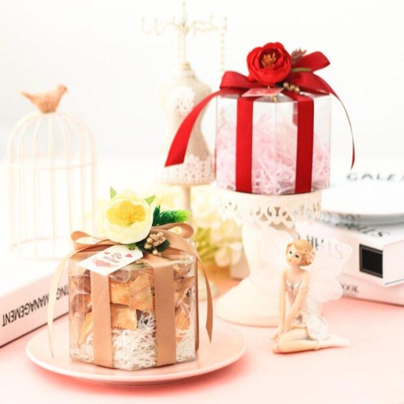 10pcs11.5x6.5x9cm Сделай Сам 2 см ленты в форме Шестиугольника четыре цвета Свадебная прозрачная коробка Цветок Милая креативная упаковка коробка ш