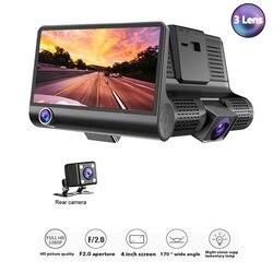NewTOSPRA 3 obiektyw samochód DVR kamery 4.0 Cal Full HD 1080P szeroki kąt podwójny obiektyw z kamery cofania wideo rejestrator kamera samochodowa