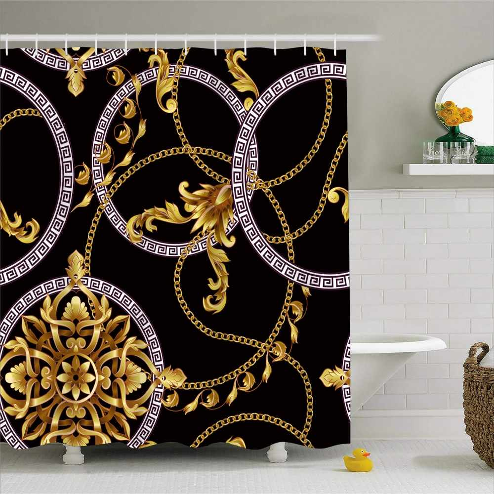 1 Piece Vintage Style Bath Curtain Hollow Shape Print Luxury Waterproof Polyester Shower Curtain Hooks Bathroom Decor 180x180cm