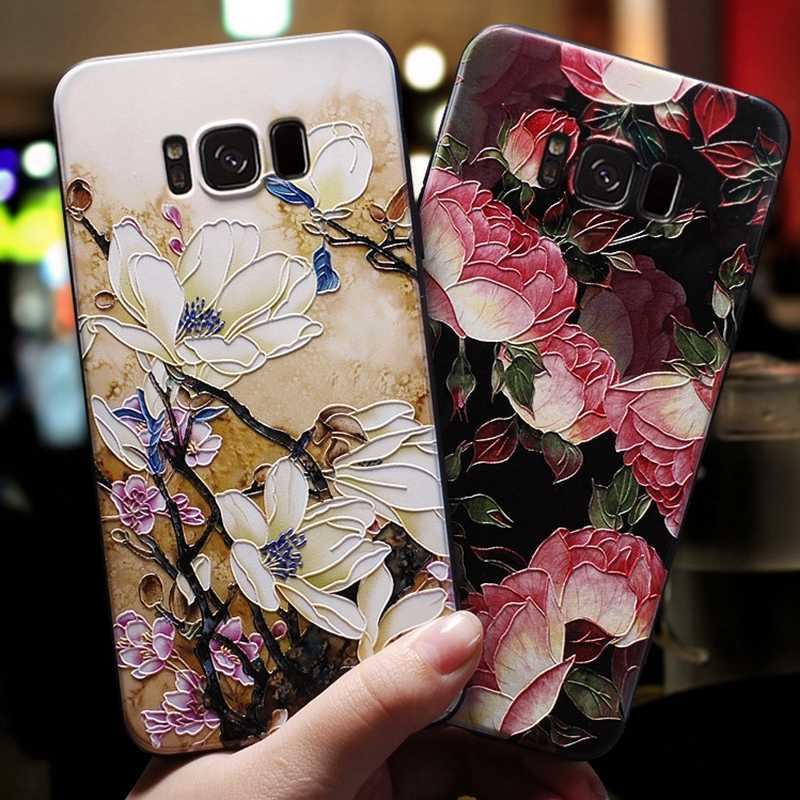 HTMOTXY 3D Flower Emboss Case For Samsung Galaxy A50 A20 A30 A40 A60 A70 A80 S8 S9 S10 Plus S10E Note 10 Pro A7 A8 A9 2018 Cover
