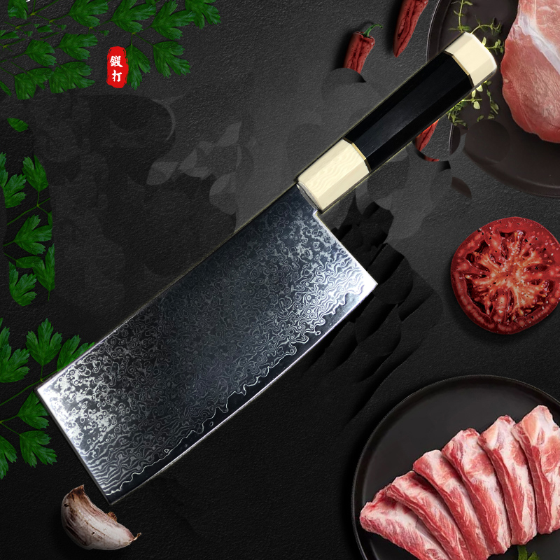 8 Inch VG10 Damascus Steel Nakiri Knife Ebony Handle Japanese Chef Knife Chinese Cleaver Cooking Knives Kitchen Cutlery