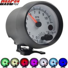 Dragon 3.75 Inch Racing Car Tachometer Gauge 7 LED Colors 0 11000 Rpm For 1/2/3/4/5/6/7/8 Cylinder Black Shell White Face Meter