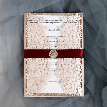 (50 pieces/lot) Laser Cut Pink Wedding Invitation Card Glittery Shiny Diamond Birthday Invitations With Burgundy Ribbon IC125