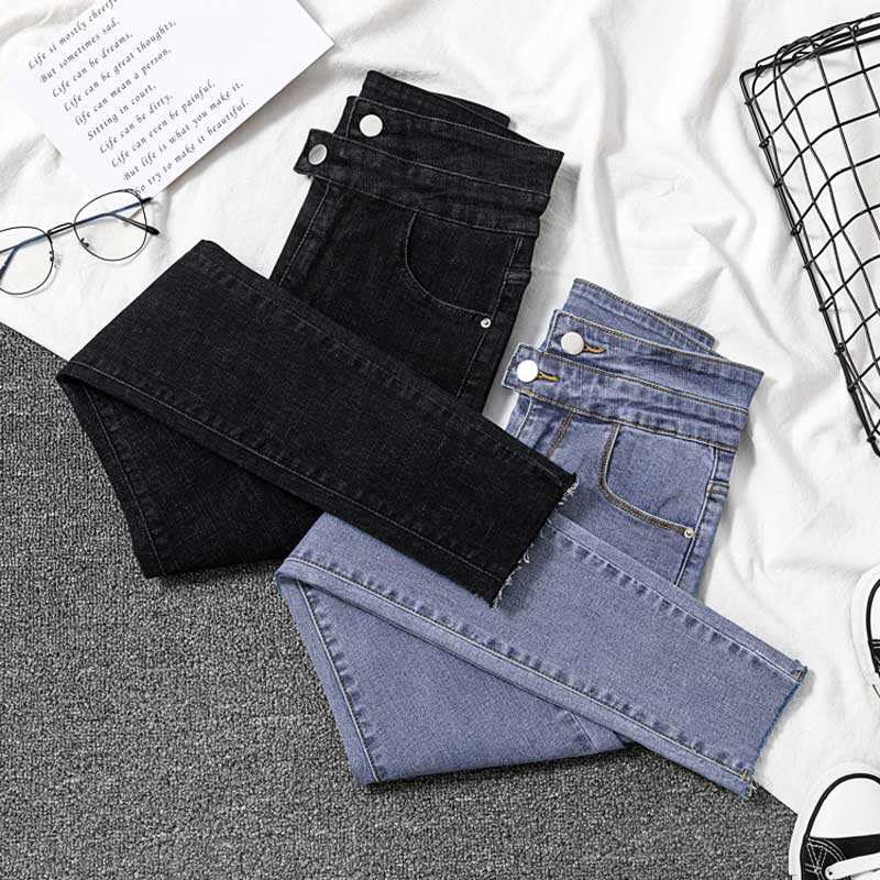 Korean Women Jeans Stretch Black Jeans Female Slim Skinny High Waist Ring Nine Points Feet Pants Double Breasted Women's Jean