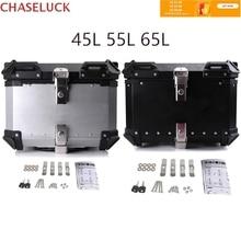 45L-65L Universal Motorcycle Rear Trunk Storage Moto Top Tool Box Waterproof Luggage Helmet Key Lock Tail Toolbox Case Aluminum
