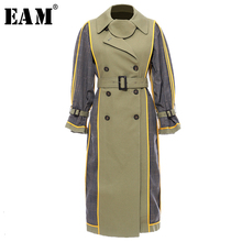 [EAM] Women Plaid Spilit Both Side Wear Trench New Lapel Long Sleeve Loose Fit W