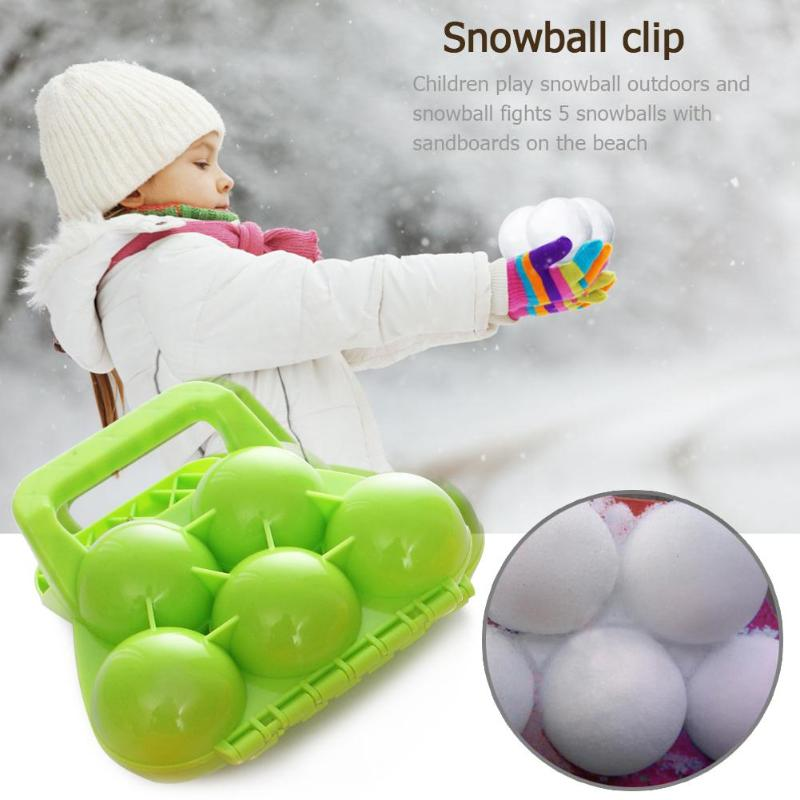 3D 5 Snowballs Maker Clip Kids Children Outdoor Sports Winter Snow Ball Sand Mold Making Tools Snowball Fight Scoop Sculpt