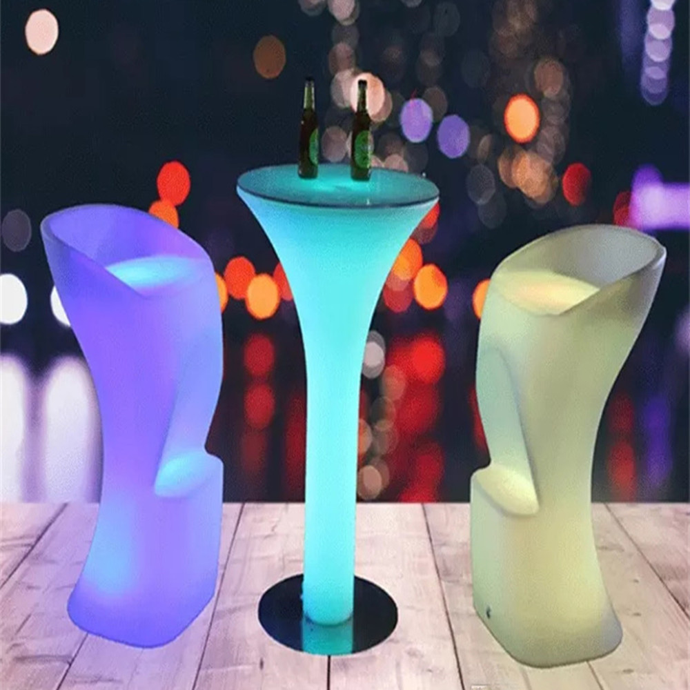 New LED Luminous Cocktail Table IP54 Waterproof Plastic Bar Table D60*H110cm Club Disco Furniture Supplies Cocktail Table