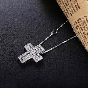 Image 2 - Slovecabin 925 فضة إيطاليا Luxulry مزدوجة عبر نقل D رسالة سلسلة بيل إيبوك دلاية من حجر الزركون قلادة مجوهرات