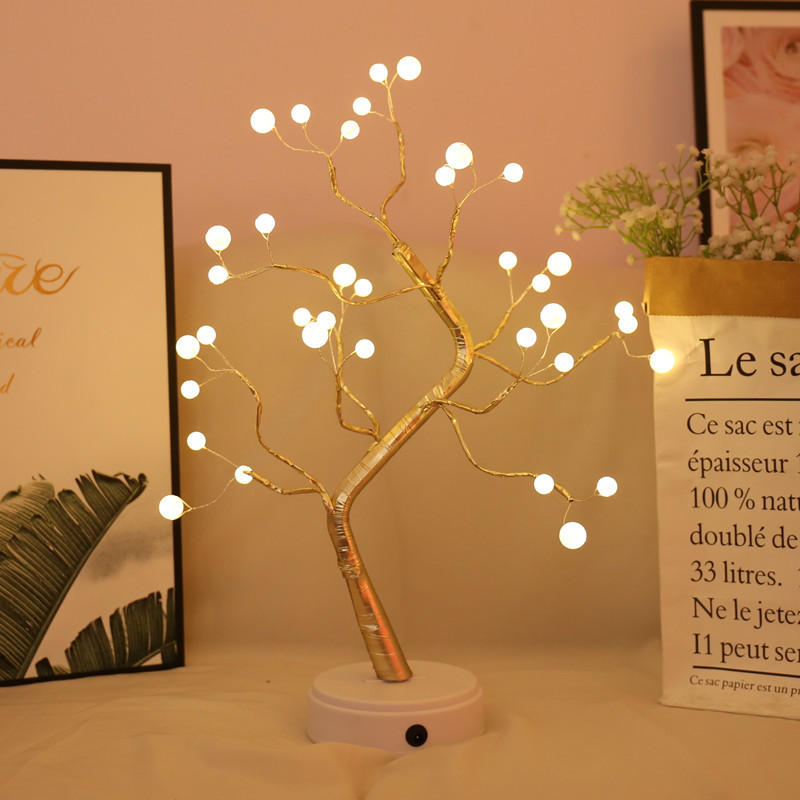 LED Creative led pearl tree lamp touch screen lantern copper wire lamp gift decoration night light