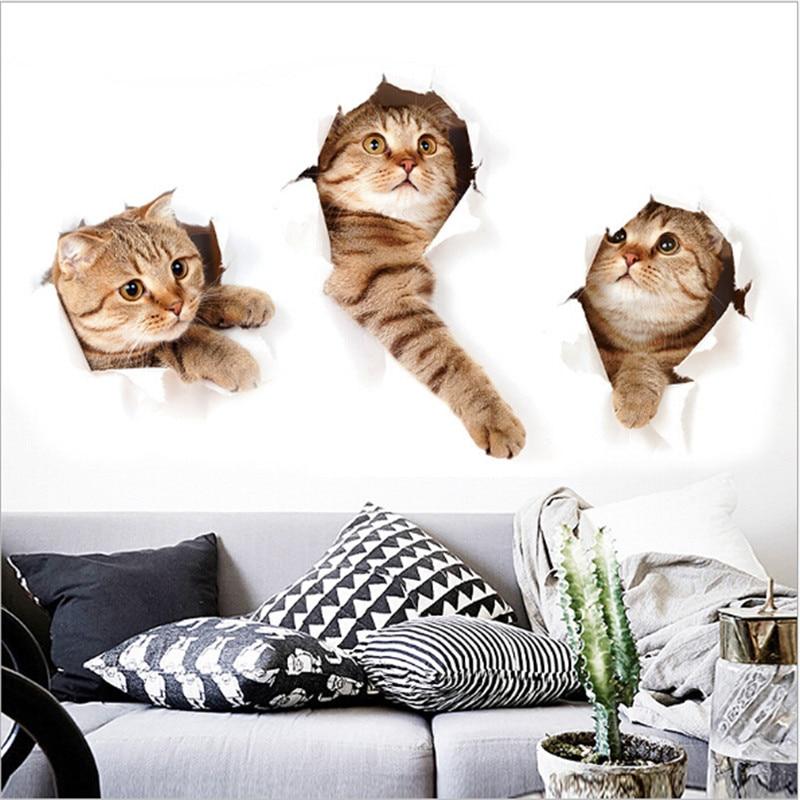 Креативная Наклейка на стену с изображением котенка из мультфильма s декор для детской комнаты Diy художественная наклейка обои съемная ПВХ